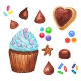 Пирожное акварели, fairy торт изолированный на белой предпосылке Сладостной очень вкусной нарисованная рукой иллюстрация хлебопек Стоковое Изображение RF
