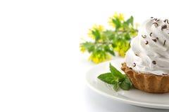Пирожное дня рождения с мятой на плите, на белой предпосылке Стоковое фото RF