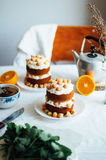 Пирожное поленики Крупный план cream торта предусматриванного с raspberr Стоковые Изображения