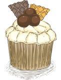 Пирожное с Wawwles и шариками шоколада Стоковая Фотография