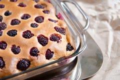 Пирожное чизкейка с ежевикой в стеклянном блюде выпечки Здоровая домашняя концепция выпечки без сахара, с мукой от полки Стоковое Изображение RF
