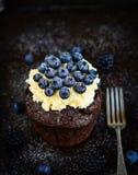 Пирожное шоколада с вилкой Стоковые Изображения RF