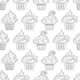 Пирожные - безшовная картина Стоковое Изображение