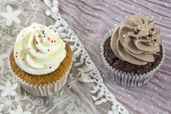 Пирожные ванили и шоколада на шнурке Стоковая Фотография