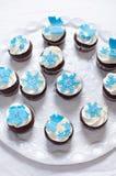 Пирожные зимы с украшениями цветка fondant стоковое изображение rf