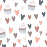 Пирожные и предпосылка влюбленности иллюстрация штока