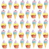 Пирожные и приходить-акварель мороженого Стоковое Фото