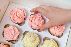 Пирожные с розовой и желтой сливк в бумажной коробке на коричневом backgr Стоковые Фото