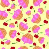 Пирожные с розовой сливк и красными вишнями иллюстрация штока