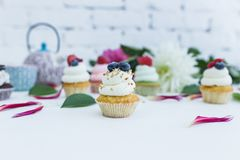 Пирожные с свежими цветками и листьями ягод, чашкой чаю или кофе и чайником Стоковые Изображения RF