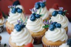 Пирожные с ягодами на черной таблице домодельно Макрос Поленика и голубика Еда концепции естественная без красок стоковое фото rf