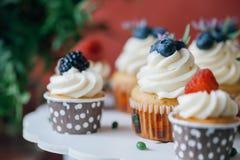Пирожные с ягодами на черной таблице домодельно Макрос Поленика и голубика Еда концепции естественная без красок Стоковые Изображения