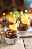 Пирожные шоколада оранжевые для рождества Стоковые Фотографии RF