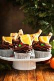 Пирожные шоколада оранжевые для рождества Стоковое Фото