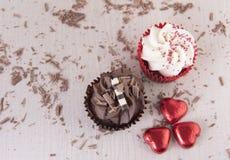 Пирожные шоколада и ванили с шоколадом брызгают Стоковая Фотография