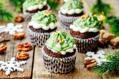Пирожные шоколада при зеленый цвет замораживая и брызгают на празднике Стоковое Изображение