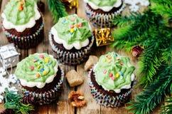 Пирожные шоколада при зеленый цвет замораживая и брызгают на празднике Стоковое Фото