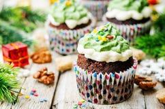 Пирожные шоколада при зеленый цвет замораживая и брызгают на празднике Стоковое фото RF