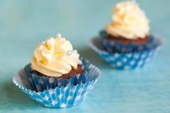 Пирожные шоколада с ванильной сливк Стоковые Фото