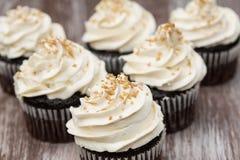 Пирожные шоколада с замораживать и золотом ванили брызгают Стоковые Изображения RF