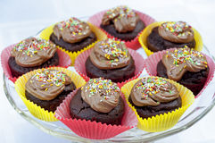 Пирожные шоколада с красочным брызгают Стоковые Фотографии RF