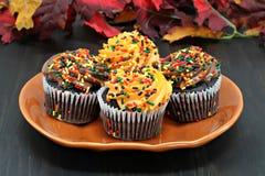 Пирожные шоколада украшенные с брызгают на осень Стоковая Фотография