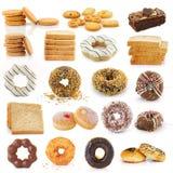 Пирожные donuts хлеба печений на белизне Стоковые Изображения