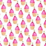 пирожня делают по образцу безшовное Милая предпосылка в акварели Сладостная печать моды Украшение приглашения дня рождения иллюстрация вектора