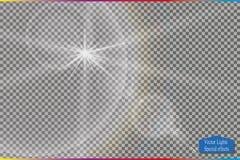 Пирофакела объектива солнечного света вектора световой эффект прозрачного специального Стоковые Фото