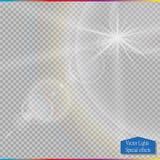 Пирофакела объектива солнечного света вектора световой эффект прозрачного специального Стоковое Изображение RF