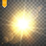 Пирофакела объектива солнечного света вектора световой эффект прозрачного специального Вспышка Солнця с лучами и фарой Стоковые Изображения