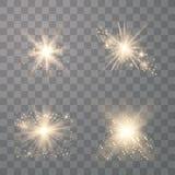 Установите золотых накаляя светов иллюстрация вектора