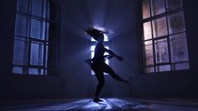 Пируэты выполнили девушкой в лунном свете, силуэтом танцора движение медленное сток-видео