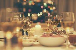 Пиршество рождественского ужина в винтажном стиле Стоковое Изображение