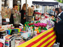 Пиршество Sant Jordi в Каталонии стоковое фото rf