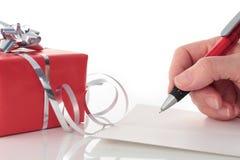 писание valentines руки подарка дня карточки красное Стоковое Изображение RF