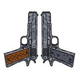 Пистолеты вектора изолированные белой предпосылки также вектор иллюстрации притяжки corel иллюстрация вектора