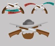 2 пистолета и корокоствольное оружие с текстом Стоковые Изображения RF