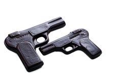 2 пистолета сделанного из темного шоколада, конца-вверх Стоковое Фото