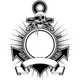 Пистолеты кремнёвого замка черепа колеса анкера иллюстрация штока