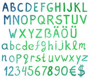 Письма алфавита акварели с номерами Стоковое Фото
