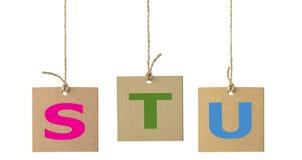 Письма алфавита на изолированном ярлыке картона Комплект 6 Стоковое Фото