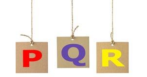Письма алфавита на изолированном ярлыке картона Комплект 5 Стоковое Изображение RF