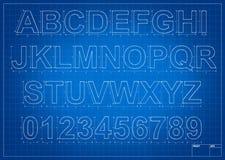 Письма алфавита светокопии архитектора Стоковое Изображение