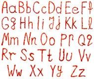Письма алфавита сделанные от кетчуп Стоковые Изображения
