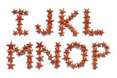 Письма алфавита сделанные реальных морских звёзд i к p Стоковое Фото