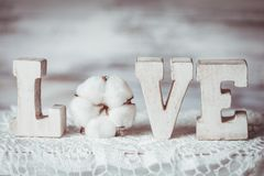 Письма влюбленности деревянные Стоковые Фото