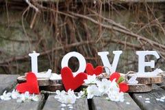 Письма говоря вне влюбленность по буквам слова Стоковая Фотография
