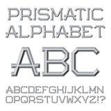 Письма граненные серым цветом Призменный ретро шрифт Изолированная английская горная вершина Стоковые Фото