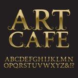 Письма золота с усиками Винтажный шрифт в стиле барокко Стоковое Изображение